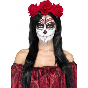 Ladies Day Of The Dead Rose Headband Halloween Fancy Dress Accessory
