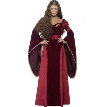 Ladies Deluxe Medieval Queen Juilet/Maid Marian Fancy Dress Costume
