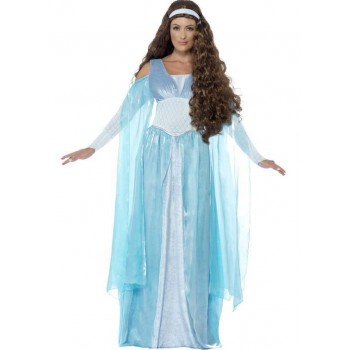 LADIES DELUXE BLUE MEDIEVAL HAND MAIDEN FANCY DRESS COSTUME