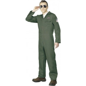 Aviator Fancy Dress Costume Mens (Army)