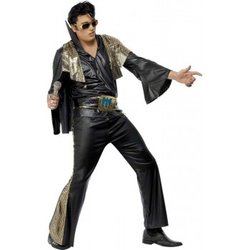 Elvis Black And Gold Fancy Dress Costume Mens (Music)