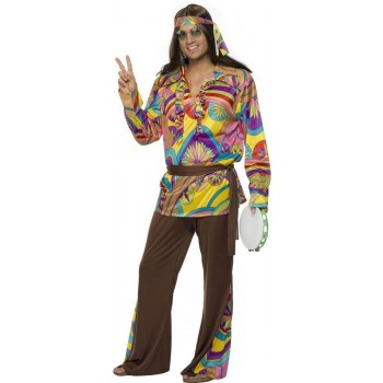 Psychedelic Hippie Man Fancy Dress Costume Mens (1960S)