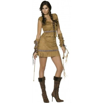 Fever Pocahontas Fancy Dress Costume Ladies (Cowboys/Native Americans, Fairy Tales)