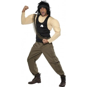 Rambo Fancy Dress Costume Mens Size 38-40 S (1970S , 1980S , Army , Film , Tv)