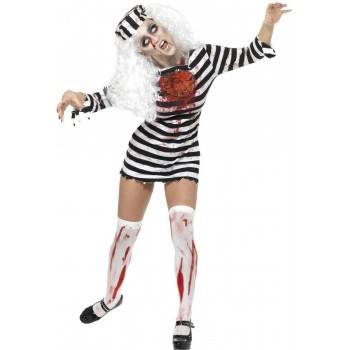 ZOMBIE CONVICT FANCY DRESS COSTUME LADIES (HALLOWEEN)