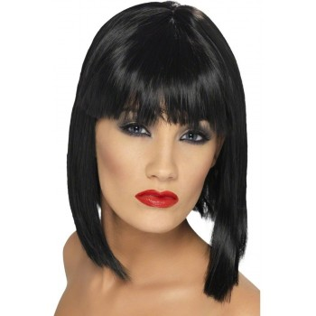 Glam Wig - Fancy Dress Ladies  - Black