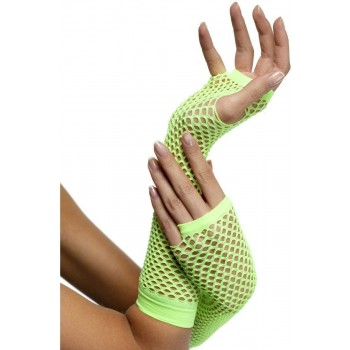 Fishnet Gloves Neon Green - Fancy Dress Ladies