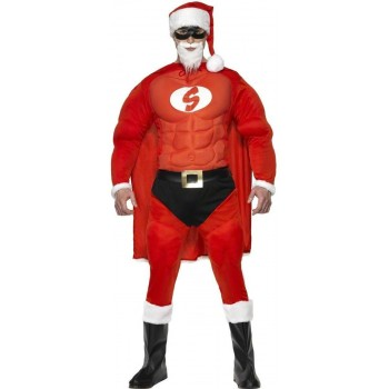 Super Fit Santa Fancy Dress Costume Mens (Christmas , Heroes)
