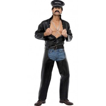 Men'S Official Village People Biker Fancy Dress Costume