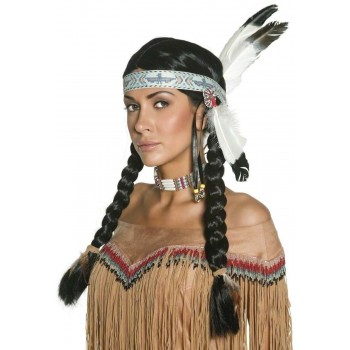 Authentic Western Native American Wig - Fancy Dress (Cowboys/Native Americans) - Black