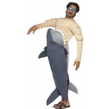 Man Eating Shark Fancy Dress Costume Mens