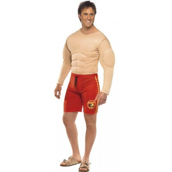 Mens Red Batwatch Lifeguard Fancy Dress Costume