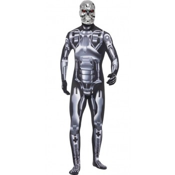 Mens Black Terminator Endoskeleton Fancy Dress Costume