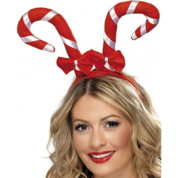 Candy Cane Headband With Bows - Fancy Dress (Christmas)