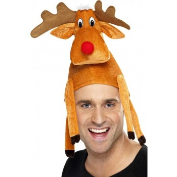Reindeer Hat Sat On Your Head - Fancy Dress Mens (Christmas)