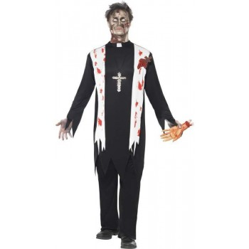 Zombie Priest Fancy Dress Costume
