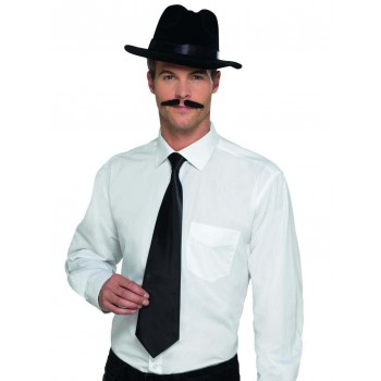 Deluxe Black Gangster Tie Fancy Dress Accessory