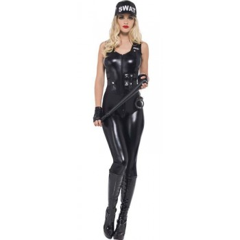 Ladies Black Fever Swat Cop Fancy Dress Costume
