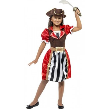 Girls Red Pirate Captain Fancy Dress Costume