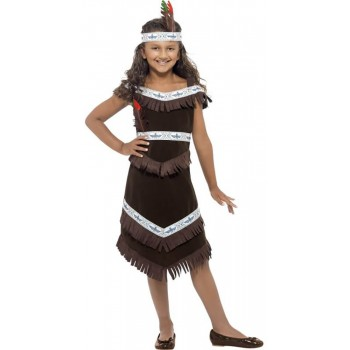 Girls Brown Native American Tribe Girl Fancy Dress Costume