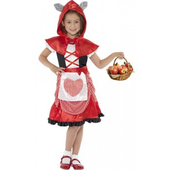 Girls Red Miss Hood Fancy Dress Costume