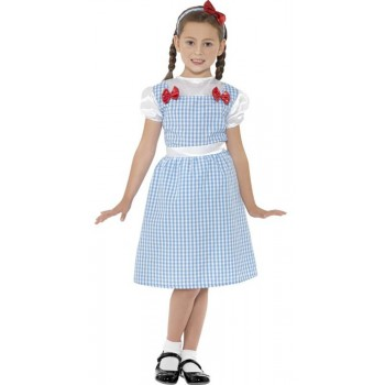 Girls Blue Counrty Girl Fancy Dress Costume