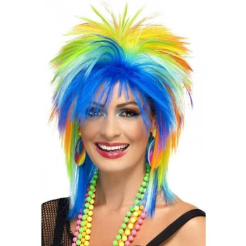 Ladies 80'S Rainbow Punk Wig Fancy Dress Accrssory