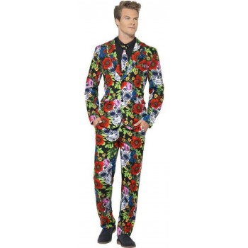 Mens Halloween Day Of The Dead Stand Out Suit Fancy Dress Costume