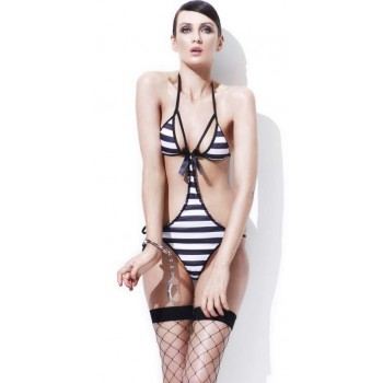 Ladies Sexy Fever Prisoner/Convict Fancy Dress Costume