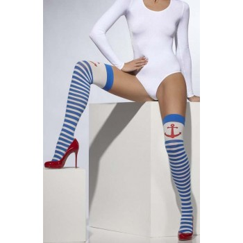 Ladies Blue & White Opaque Hold-Ups Sailor Style
