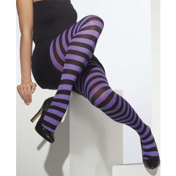 Ladies Purple & Black Opaque Tights