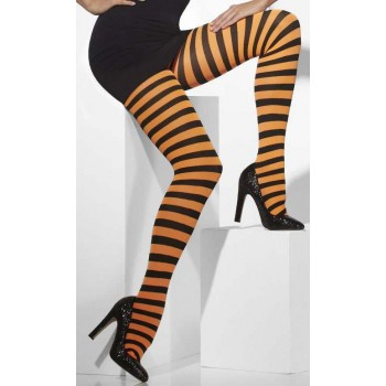 Ladies Orange And Black Stripe Pumpkin Style Opaque Tights