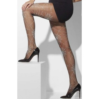 Ladies Black Spider Pattern Opaque Tights