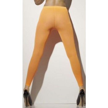 Ladies Neon Orange Opaque Footless Tights 80'S/Punk Style