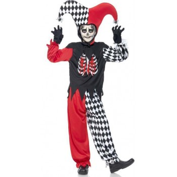 Boys Black Blood Curdling Jester  (Fancy Dress Costume)