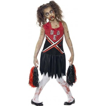Girls Black/Red Zombie Cheerleader  (Fancy Dress Costume)