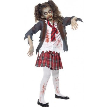 Girls Grey Zombie School Girl  (Fancy Dress Costume)