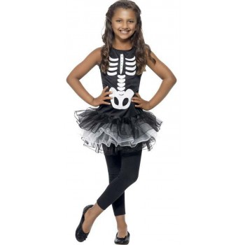 Girls Black/White Skeleton Tutu  (Fancy Dress Costume)