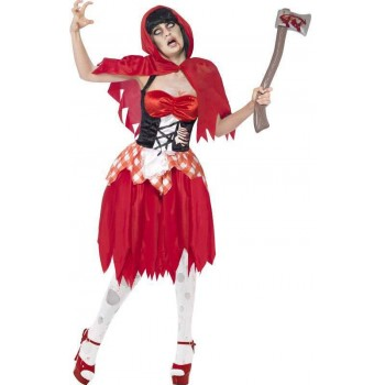 Ladies Red Zombie Hooded Beauty  (Fancy Dress Costume)