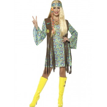 60s Hippie Chick Costume, with Dress Fancy Dress