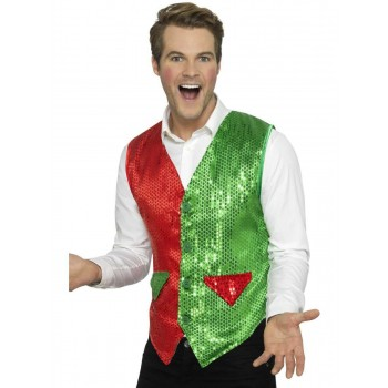 Sequin Elf Waistcoat Fancy Dress Costume