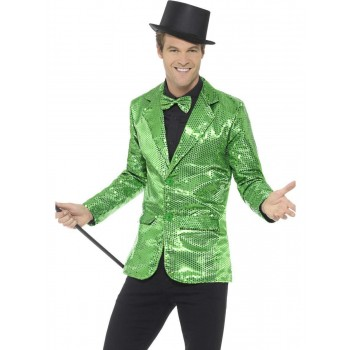 Sequin Jacket Green, Mens Fancy Dress Costume
