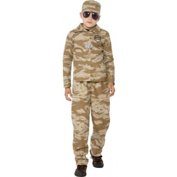 Boys Desert Army Soldier Fancy Dress Costume