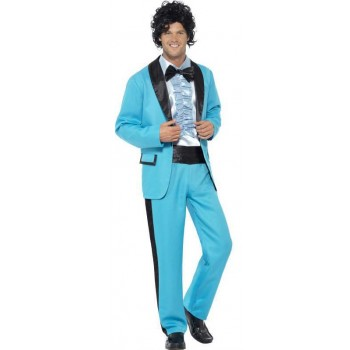 Men'S Blue 80'S Prom Date King Fancy Dress Costume