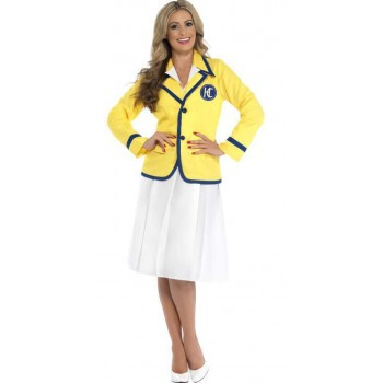 Ladies Hi De Hi Style Holiday Rep Yellow Coat Fancy Dress Costume