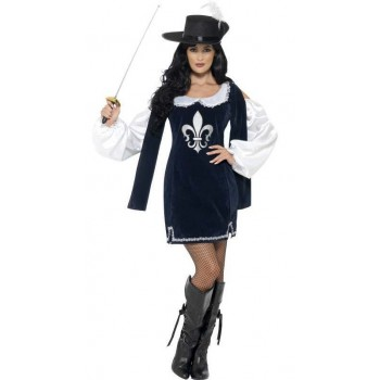 Ladies Blue Musketeer Fancy Dress Costume