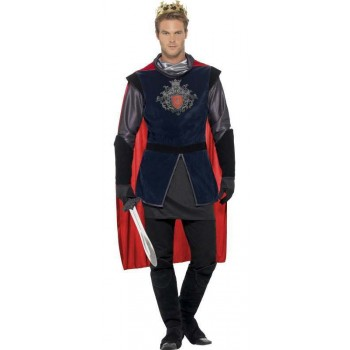 Men'S Deluxe Medieval King Arthur Fancy Dress Costume