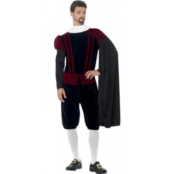 Men'S Deluxe Tudor Lord Fancy Dress Costume