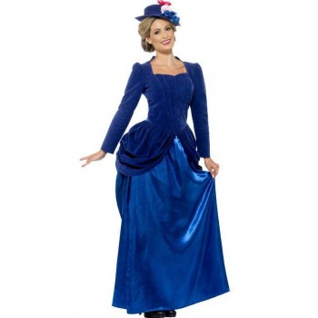 Ladies Deluxe Blue Victorian Vixen Edwardian Nanny Fancy Dress Costume