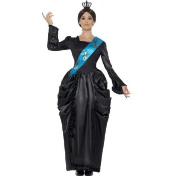 Ladies Black Deluxe Queen Victoria Fancy Dress Costume
